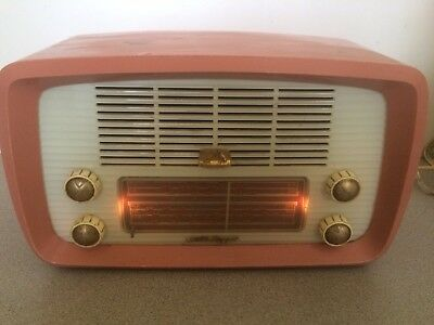 VINTAGE RADIO,50s HIS MASTER'S VOICE LITTLE NIPPER Model 64 Works Flamingo Pink