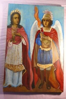 Old 19th century Archangel Michael and Varvara Russian Icon Wood Oil Gilding