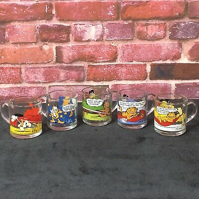 Vintage Garfield Mcdonalds Glass Coffee Cups Mugs Jim Davis 1978-80 Lot Of 5