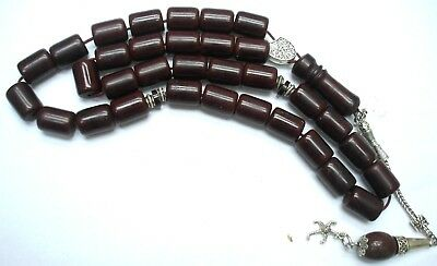 cherry amber faturan bakelite complete tested  islamic  prayer beads