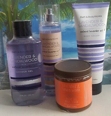 bath and body works lavender & sandalwood gel cream body scrub fragrance mist