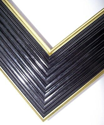 High quality picture frame moulding, Scharf Black & Gold, 61mm wide, 10cm sample