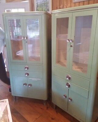 RARE!! PAIR of Antique Hamilton Medical Cabinets (Jadeite) With Original Shelves