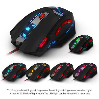 T-90 8 Key Button Wired USB 9200DPI Optical Gaming Mouse Mice 13 Light Ergonomic