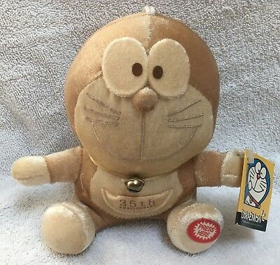 USED 2006 35th Anniversary golden Doraemon suction cup plush anime toy