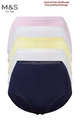 M&S PACK of 5 Cotton Modal No VPL Navy White PINK Lace High BRIEFS Knickers 8-22