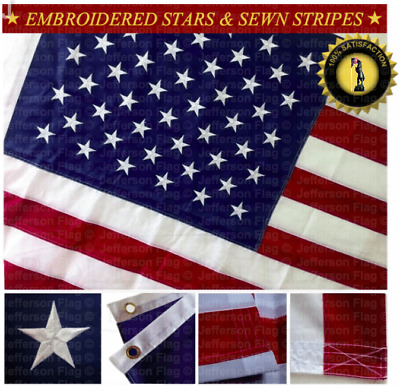 3x5' FT U.S. American Flag Sewn Stripes Embroidered Stars Brass Grommet (5-Pack)