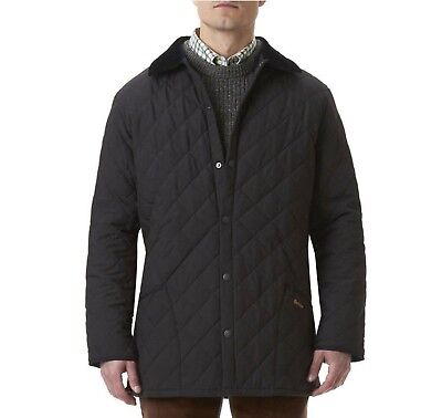 Men's Barbour Eskdale Quilted Jacket with Corduroy Collar Size Large Black D2131