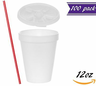(100 Sets) 12 oz White Foam Cups with Lift'n'Lock Lids and BONUS Stirrers