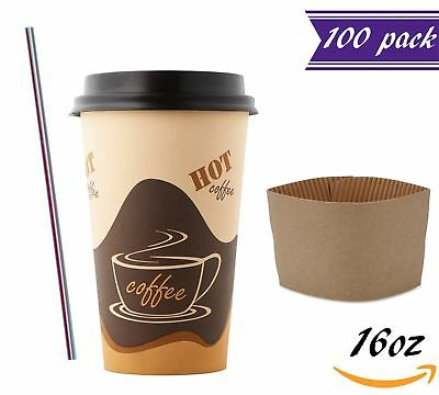 (100 Sets) 16oz Disposable Coffee Cups with Dome Lids and Sleeves BONUS Stirrers