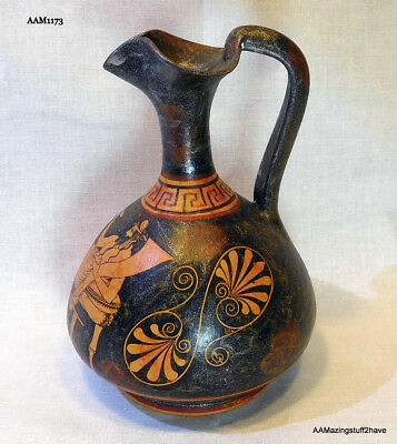 Vintage  Athens hand painted Greek Pottery Replica Hand Made  Pitcher