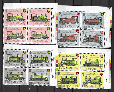ISLE OF MAN 1973 STEAM RAILWAY CENTENARY TRAINS 4v Top Right Corner Blocks MNH