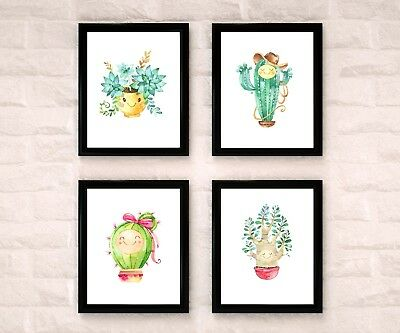Cactus & Co. Watercolor Nursery Art Wall Decor Set Of 4