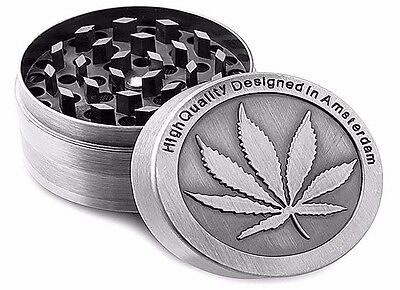 Tobacco Herb Grinder Spice Herbal Alloy Smoke Crusher 4 Piece Metal Chromium New