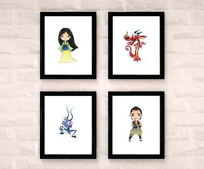 Mulan Watercolor Nursery Art Wall Decor Set Of 4