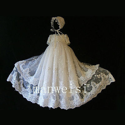 Christening Dresses Lace Baby Girl Toddler Vintage Antique Beads Baptism Gowns