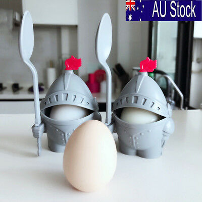 2pcs Detachable Knight Shaped Boiled Egg Cup Holder with Eating Spoon Plastic AU