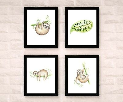 Sloth Watercolor Nursery Art Wall Decor Set Of 4