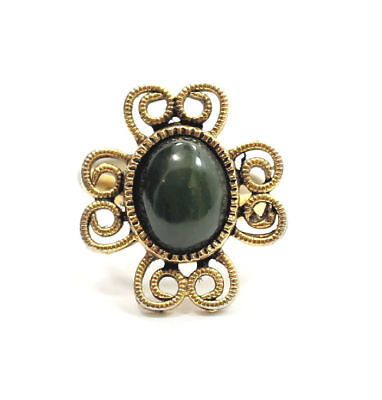 Elegant Grey/Green Onyx Gold Tone Fashion  Estate Ring Size 5-7 (adjustable)