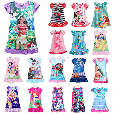 Girls Kids Disney Cartoon Princess Dress Pyjamas Nightwear Nightgown Sleepwear