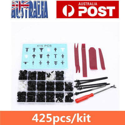 425Pcs Car Body Trim Clips Retainer Bumper Rivets Screws Panel Push Fastener Kit