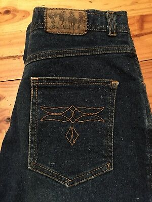 Womens Vintage Hot CORFU Ink Blue High Waisted Jeans 10 70's 80's Disco Faberge