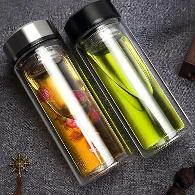 320ML Double Layer Glass Water Bottle Transparent Tea Water Bottles Infuser