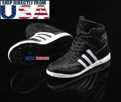 """1/6 Scale Sneakers Shoes BLACK For 12"""" PHICEN Hot Toys Female Figure U.S.A."""