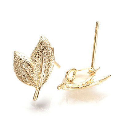10pcs Gold Plated Brass Leaf Earring Posts Bumpy Stud Findings Hang Loop 15.5mm