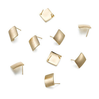 10x Brass Rhombus Earring Posts Bumpy Stud Findings Loop Ring Gold Plated 17.5mm
