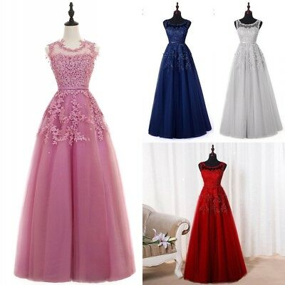 Long Evening Formal Party Dress Prom Ball Gown Bridesmaid Tulle Beads Applique