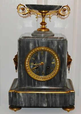 Antique Victorian Grey Veined Marble Gilt Ormolu French Striking Mantle Clock