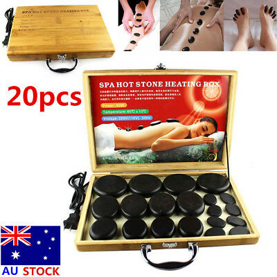 20pcs Hot Massage Stone Volcanic Stones Kit Rock SPA Oiled Massager Bamboo Box