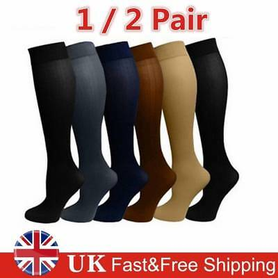 4b37a674c27 2 Pair Men Womens Compression Socks Pain Relief Leg Foot Calf Support  Stockings