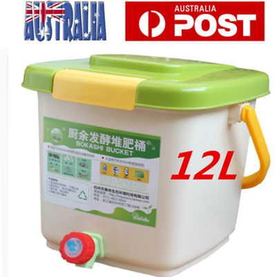 12L Recycle Composter Aerated Compost Bin Bokashi Bucket Kitchen Food Waste