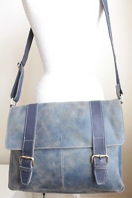 ROWALLAN MESSENGER Unisex Large Blue Leather Laptop Cross Body Shoulder Work Bag