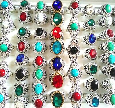 20pcs Vintage Retro Antique Silver Stone Crystal Ring Tibet Ethnic Unique Unisex