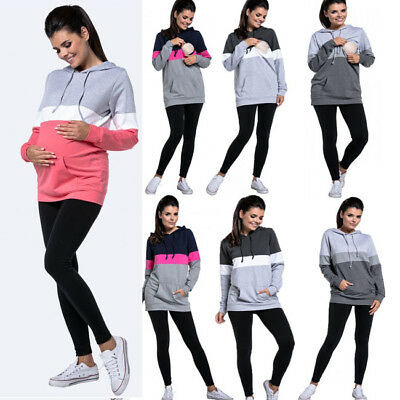 Maternity Clothes Breastfeeding Hoodies Womens Nursing Tops Pocket Pullover Coat
