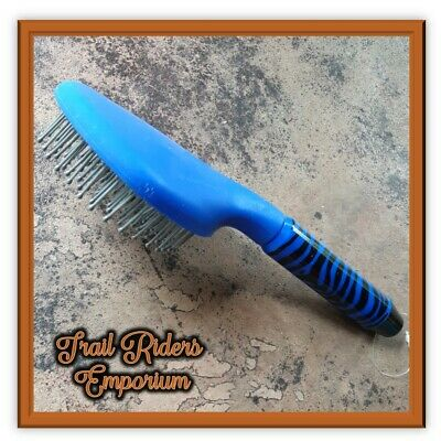 ROMA horse brush BLUE zebra print plastic mane and tail brush show horse