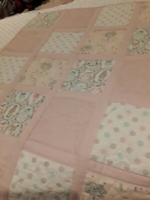 Handmade Cot Quilt Woodland Critters # 2. pink and white. Cotton