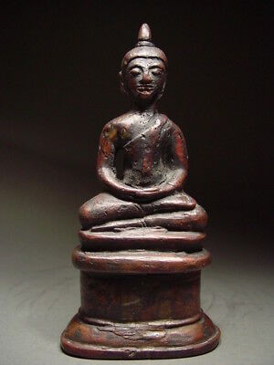 ANTIQUE BRONZE BURMESE ENTHRONED MEDITATING BUDDHA, AVA PERIOD. MYANMAR 17th