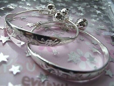 2 New Girls Silver Bracelets Bangles Adjustable Size 2, 3,4,5,Years Gift Box