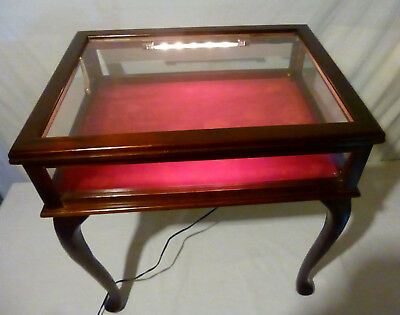 Lighted Glass Top Curio Table Display Case Shadowbox Wood Vintage