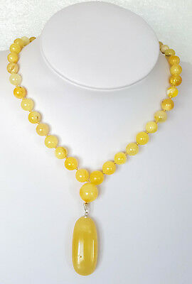 23g NATURAL BALTIC AMBER NECKLACE PENDANT EGG YOLK BUTTERSCOTCH AMBER 老琥珀