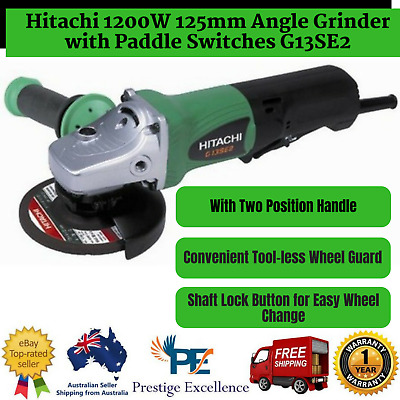New Hitachi 1200W 125mm Angle Grinder with Paddle Switches G13SE2 Anti-Vibration