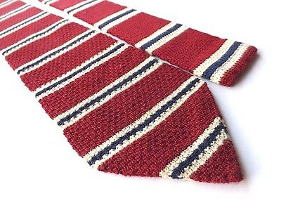 Retro ST MICHAEL 1980s Knitted Neck Tie Claret with Cream Blue Stripes FREE P&P
