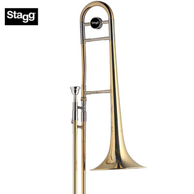 NEW Stagg WS-TB245 Bb Tenor Slide Trombone Clear Lacquer with Mouthpiece, Case