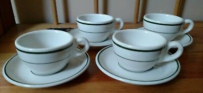 VINTAGE old BUFFALO CHINA GREEN STRIPES RESTAURANT WARE COFFEE CUPS & SAUCERS