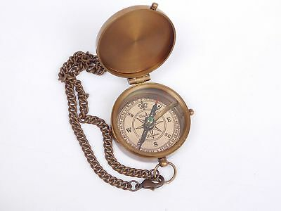 Brass Compass Grow Old With Me Engraved On Chain W/Leather Case Directional Navy