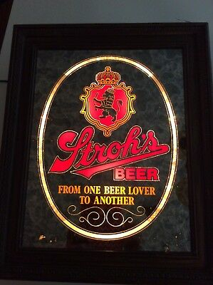 Vintage Strohs Beer Painted Mirror Tavern Bar Sign